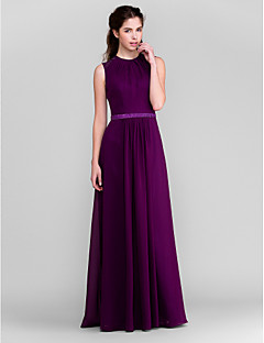 Lanting Bride® Floor-length Chiffon Bridesmaid Dress - Sheath / Column Jewel Plus Size / Petite with Beading / Sash / Ribbon