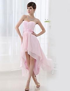 Asymmetrical Lace Bridesmaid Dress - White A-line Sweetheart