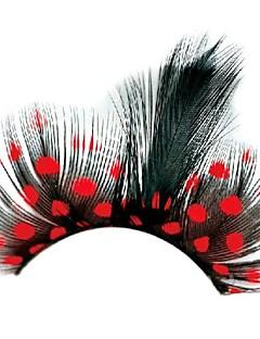 Red Polka Dots Feather Carnival Eyelashes