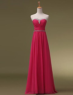 Floor-length Chiffon Bridesmaid Dress - Elegant A-line Sweetheart with Beading / Ruching