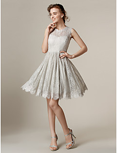 Lanting Knee-length Lace Bridesmaid Dress - Silver Plus Sizes / Petite A-line / Princess Jewel