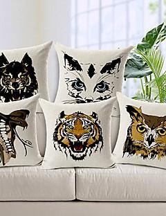 ensemble de visage coton / lin taie d'oreiller décoratif 5 animale