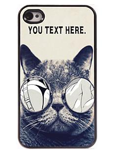 caixa personalizada gato lascivo caso design de metal para iPhone 4 / 4S