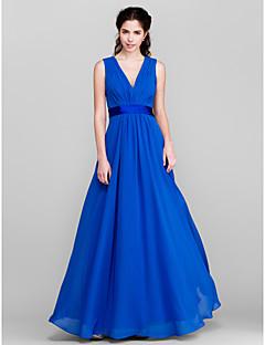 Floor-length Chiffon Bridesmaid Dress - Royal Blue A-line V-neck