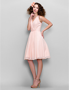Knee-length Chiffon Bridesmaid Dress - Blushing Pink A-line V-neck
