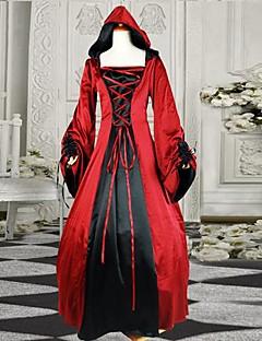 vestito gothic lolita cotone rosso manica lunga pavimento-lunghezza