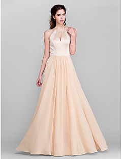 Lanting Bride® Floor-length Chiffon / Satin Bridesmaid Dress A-line Jewel Plus Size / Petite with