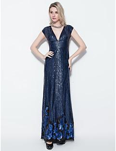 Formal Evening Dress - Ink Blue Plus Sizes / Petite Sheath/Column V-neck Floor-length Sequined