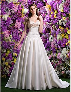 Lan Ting Ball Gown Wedding Dress - Multi-color Chapel Train V-neck Satin