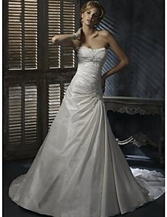 А-силуэт Свадебное платье С длинным шлейфом / В пол Сердцевидный вырез Сатиновый шифон с