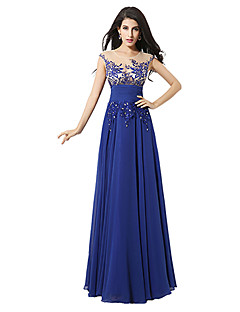 Homecoming A-line Jewel Floor-length Evening Dress