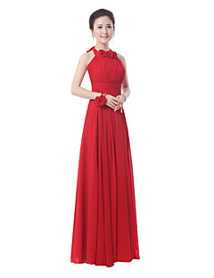 Floor-length Bridesmaid Dress Sheath/Column High Neck