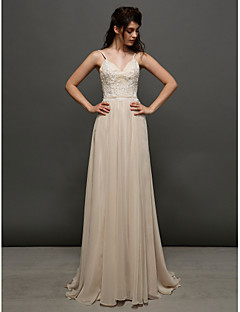 Lan Ting A-line Wedding Dress Court Train Spaghetti Straps Chiffon / Lace