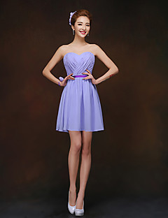 Short / Mini Chiffon Lace-up Bridesmaid Dress - A-line Sweetheart with Sash / Ribbon