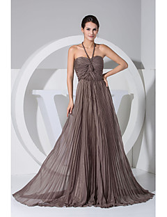 Formal Evening Dress - Chocolate Plus Sizes A-line / Princess Halter Floor-length / Court Train