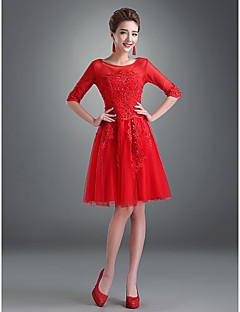 Homecoming A-line/Princess Bateau Knee-length Lace Evening Dress