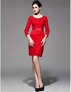 Cocktail Party Dress Sheath/Column Scoop Knee-length Lace