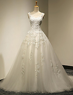 Ball Gown Plus Sizes / Petite Wedding Dress - Chic & Modern Vintage Inspired Sweep / Brush Train Scoop Lace / Tulle withBeading /
