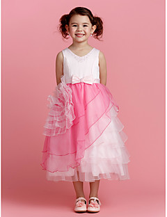 Flower Girl šaty - Polyester Áčkový střih Po lýtka