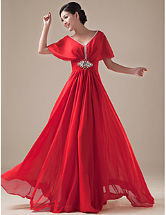 Formal Evening Dress A-line V-neck Floor-length Chiffon / Satin with Beading