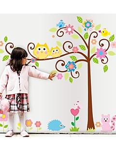 pared calcomanías pegatinas de pared, estilo búho de la historieta del árbol afortunado pegatinas de pared del pvc