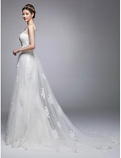 A-line Chapel Train Wedding Dress -Jewel,V-neck Tulle