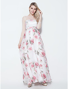 A-line Jewel Floor-length Chiffon Evening Dress