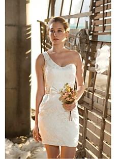 vestido de novia vaina / columna de la rodilla-longitud del cordón del hombro -uno