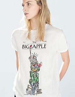 Camiseta (Algodão/Poliéster) Casual/Estampa - Fina - Normal