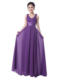 Floor-length Chiffon Bridesmaid Dress - Regency Sheath/Column Scoop