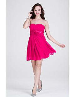 hemkomst kort / mini chiffong brudtärna klänning slida / kolumn axelbandslös