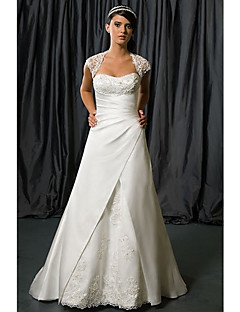 A-line Wedding Dress Chapel Train/Floor-length Queen Anne Satin Chiffon