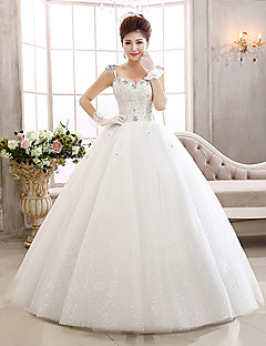 Ball Gown Wedding Dress Sparkle & Shine Floor-length Straps Lace Tulle with Appliques Beading