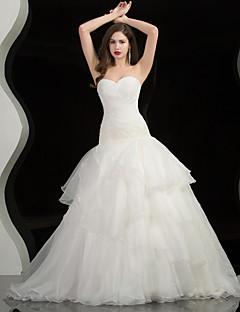 A-line Wedding Dress - White/Ivory Chapel Train Strapless/Sweetheart Satin