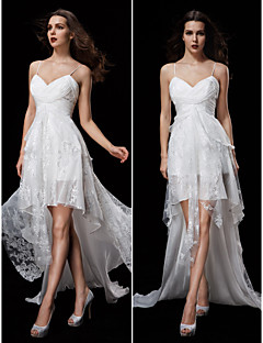Lanting Bride A-line Petite / Plus Sizes Wedding Dress-Court Train Spaghetti Straps Chiffon / Lace