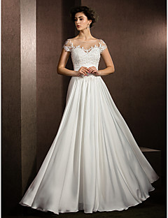 Lanting A-line Petite / Plus Sizes Wedding Dress - Ivory Floor-length Jewel Satin Chiffon