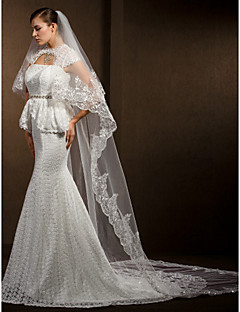 Wedding Veils Women's Elegant Tulle Two-tier Lace Applique Edge Veils