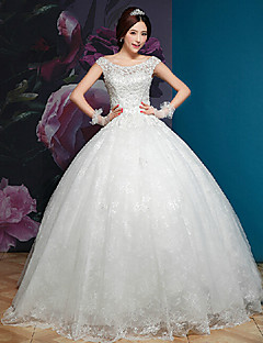 Ball Gown Wedding Dress - White Floor-length Off-the-shoulder/Square Lace