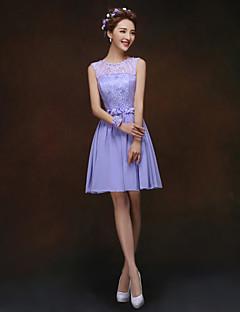 Short/Mini Bridesmaid Dress - Lavender A-line / Princess Bateau