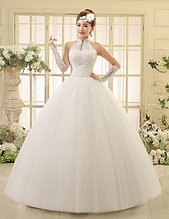Ball Gown Wedding Dress Floor-length High Neck Lace / Tulle with