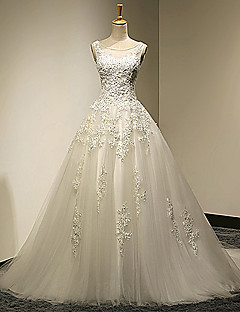 A-line Wedding Dress Chapel Train Scoop Tulle