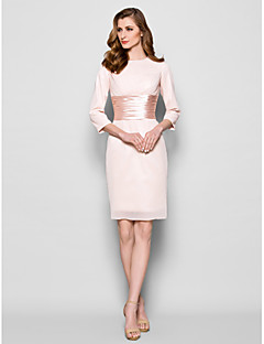 Sheath/Column Plus Sizes / Petite Mother of the Bride Dress - Pearl Pink Knee-length 3/4 Length Sleeve Chiffon