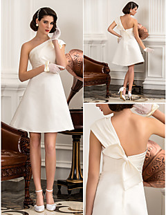 Lanting Bride A-line / Princess Petite / Plus Sizes Wedding Dress-Knee-length One Shoulder Satin