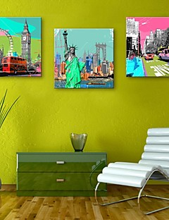 E-HOME® Stretched Canvas Art Famous Buildings in Europe Decoration Painting Set of 3
