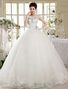A 라인 스쿱 바닥 길이 웨딩 드레스 ( 레이스 )