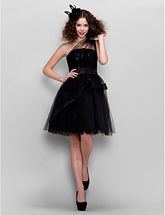 TS Couture® Cocktail Party / Company Party Dress Plus Size / Petite A-line / Princess One Shoulder Knee-length Tulle withLace / Sash / Ribbon /