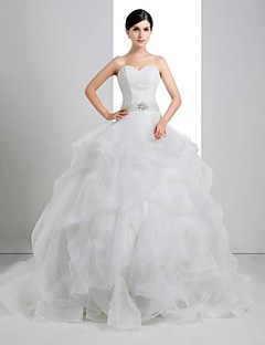 Ball Gown Wedding Dress - White Court Train Sweetheart Lace/Linen/Tulle