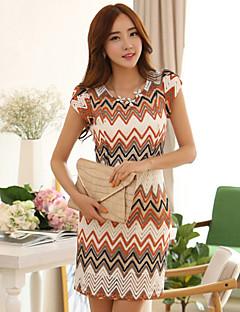 Women's Print Work Micro-elastic Short Sleeve Above Knee Dress (Cotton)