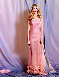 저녁 정장파티 드레스 - 펄 핑크 A라인 바닥 길이 스위트하트 쉬폰/명주그물