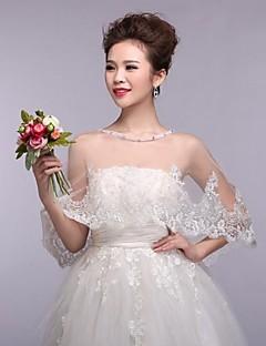boda envuelve blanco capelets encaje sin mangas